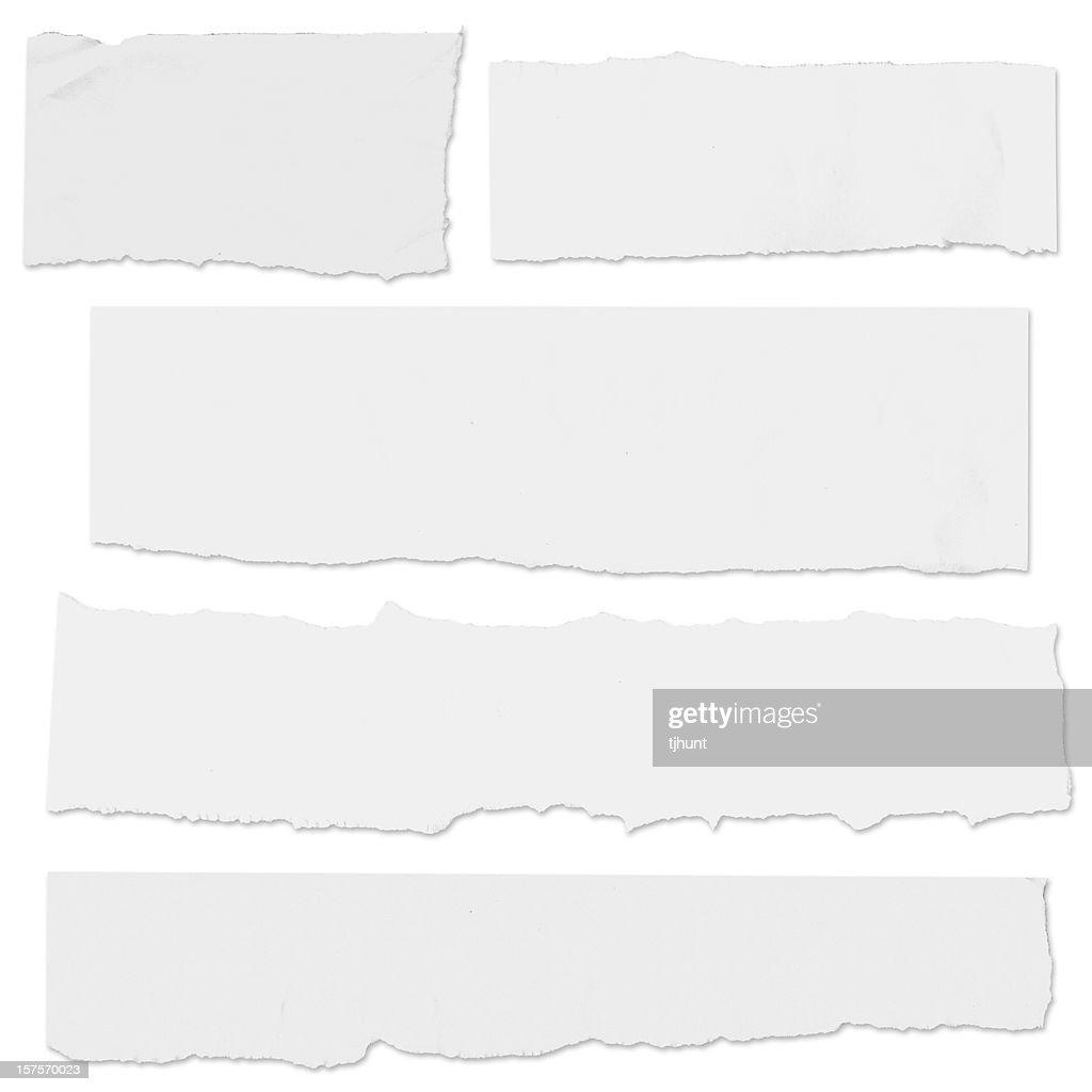 Multiple blank paper tears on white w/drop shadow : Stock Photo