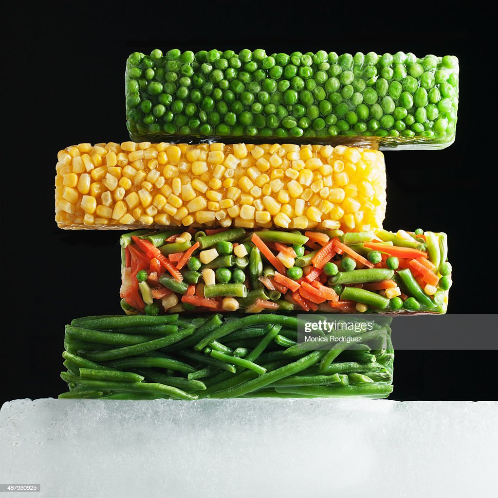 Multiple Blocks of Frozen Vegetables