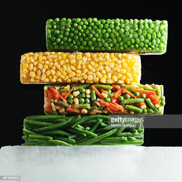 Multiple Blocks of Frozen Vegetables