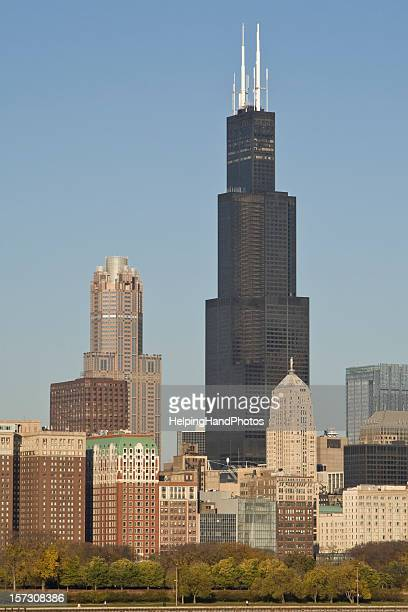 Multiple buildings with Sears tower in Chicago