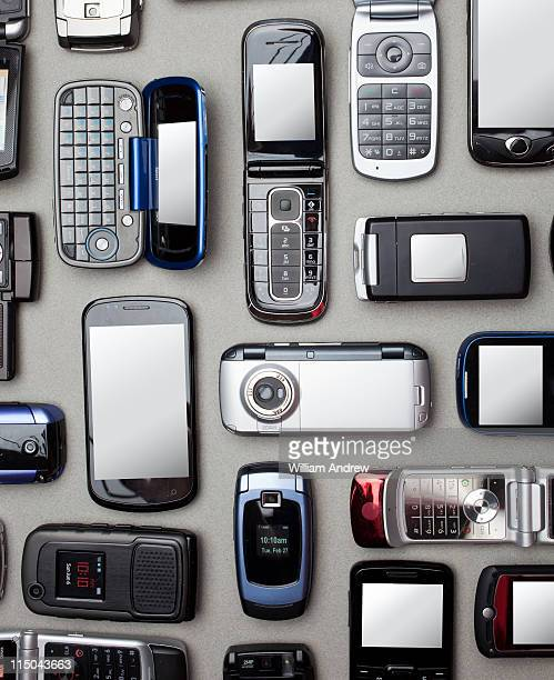 Multiple cell and smart phones shot from above