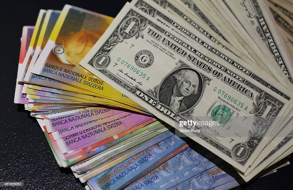 swiss currency following swiss national bank 39 s decision to end franc cap getty images. Black Bedroom Furniture Sets. Home Design Ideas