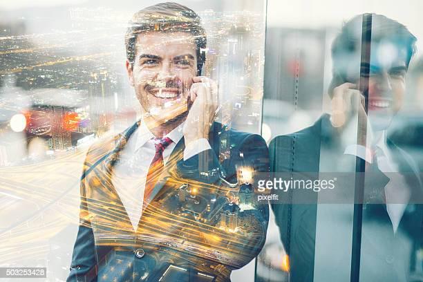 Exposition Multiple affaires concept de verre et de réflexion