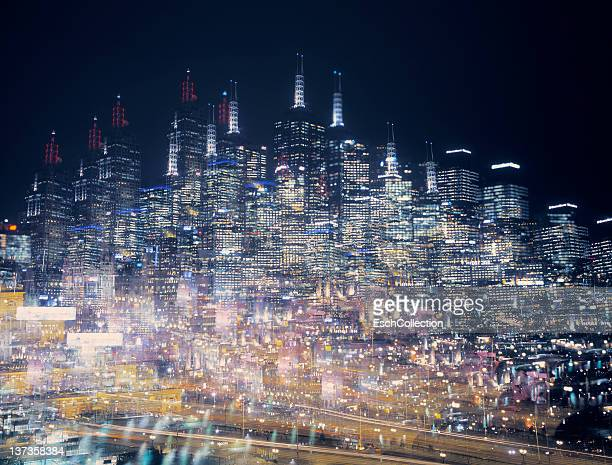 Multiple exposure image of an illuminated skyline