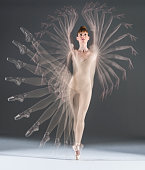 multiple exposure image of ballerina moving
