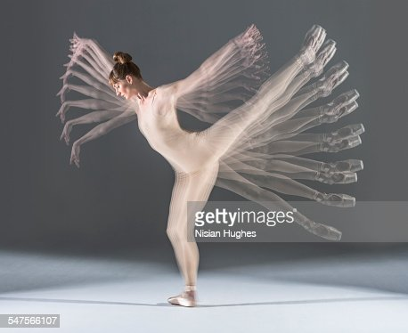 multiple exposure image of ballerina moving