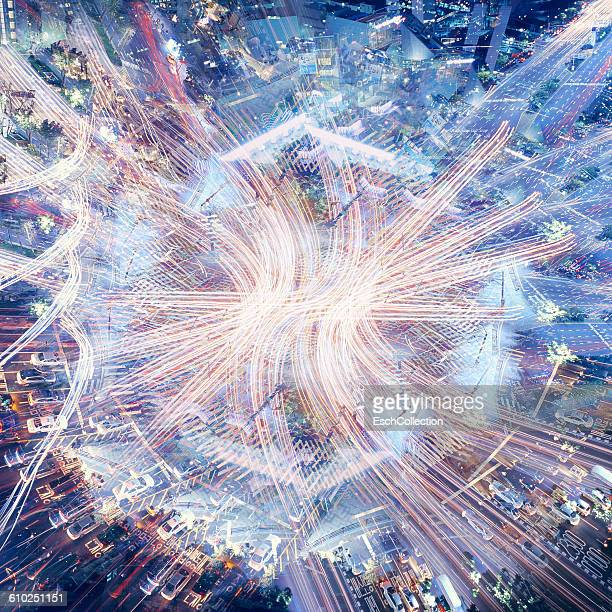 Multiple exposure image of busy crossing in Seoul