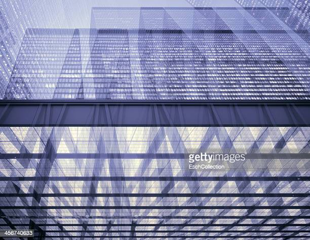 Multiple exposure image of large skyscrapers