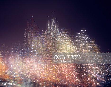 Multiple exposure image of skyline at night