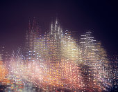 Multiple exposure image of skyline at night