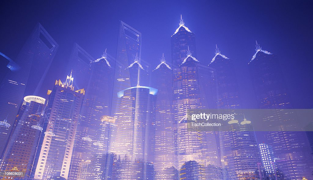 Multiple exposure image of the Pudong skyline. : Stock Photo