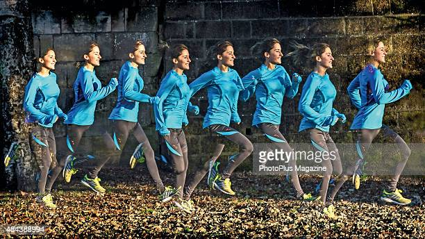 Multiple exposure of a woman jogging taken on January 6 2015