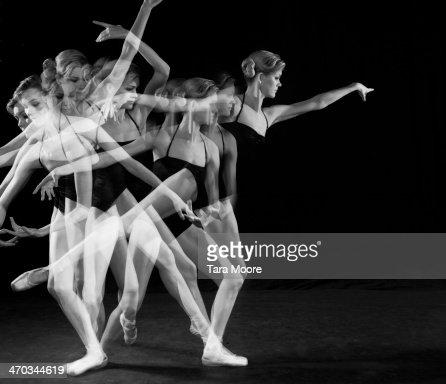 multiple exposure of ballet dancer dancing