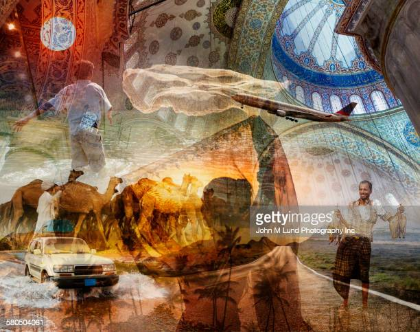 Multiple exposure of explorers under iconic architecture