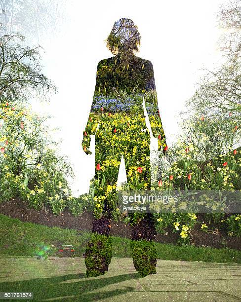 Multiple exposure of girl and nature