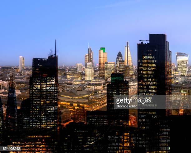Multiple exposure of London city skyline - aerial view
