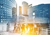 Paris business district La Defense. Blurred image. Economy, finances, business concept illustration.