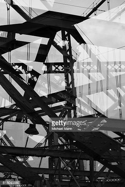 Multiple exposure of steel beams of bridge