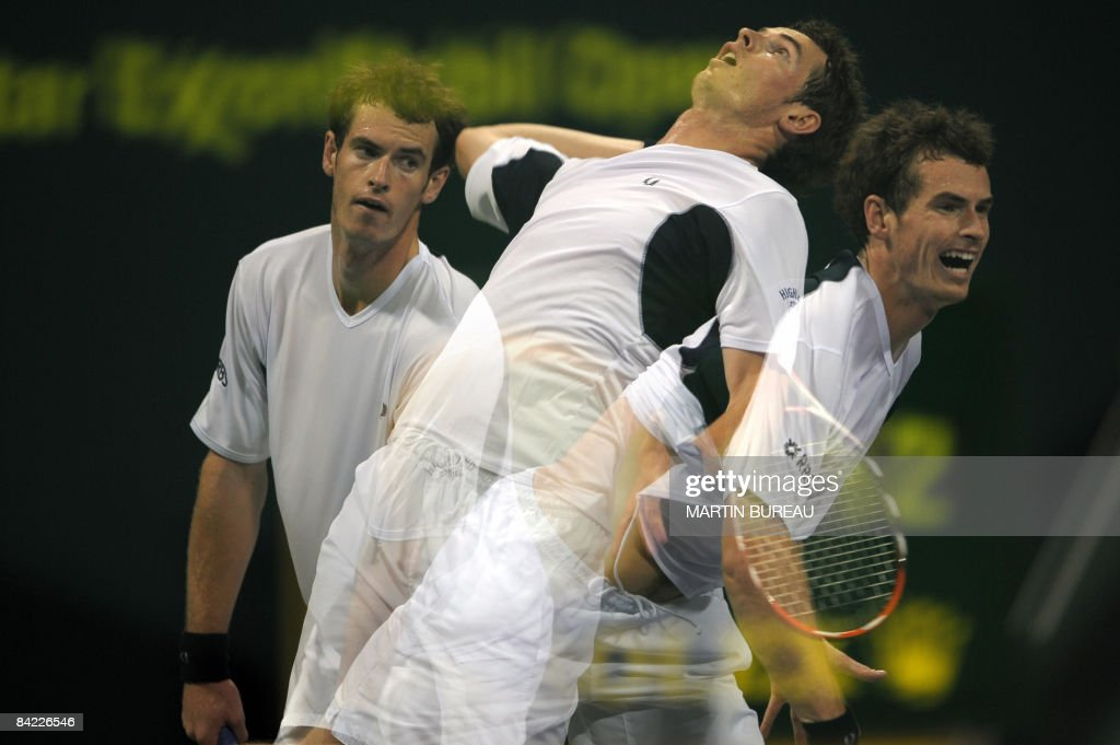 A multiple exposure picture shows Britain's Andy Murray serving to Swiss Roger Federer during their semifinal tennis match in the Qatar Open 2009 in...