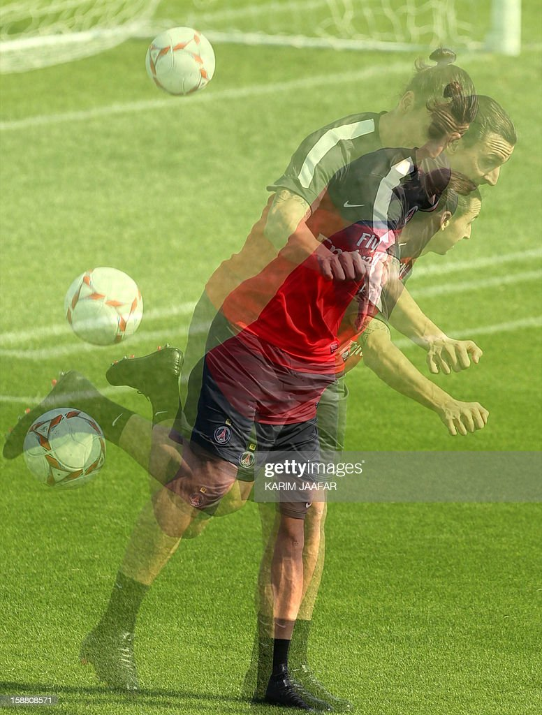 A multiple exposure picture shows Paris Saint-Germain's (PSG) forward Zlatan Ibrahimovic attending a training session at the Aspire Academy of Sports Excellence in the Qatari capital Doha on December 30, 2012. PSG is in Qatar for a week-long training camp before the resumption of the French Ligue 1 after the winter break.