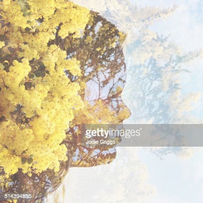 Multiple exposure portrait of young girl & nature