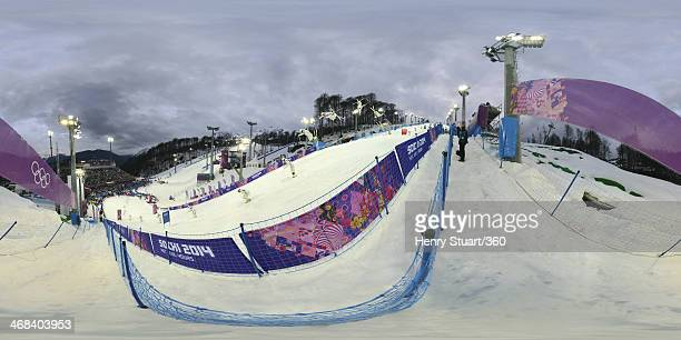 A multiple exposure view of the Men's Moguls at the Rosa Khutor Extreme Park during the Sochi 2014 Winter Olympics on February 10 2014 in Sochi Russia