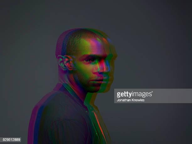 Multiple exposure,portrait of a dark skinned male