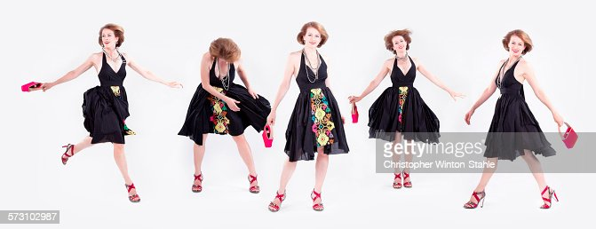 Multiple exposures of stylish Caucasian woman in dress heels