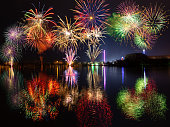 Multiple fireworks with reflections over lake Dutzendteich at spring fair in Nuremberg