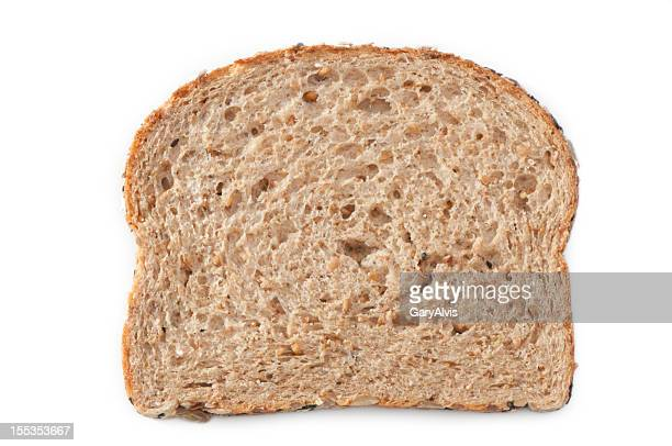 multiple grain bread slice with clipping path