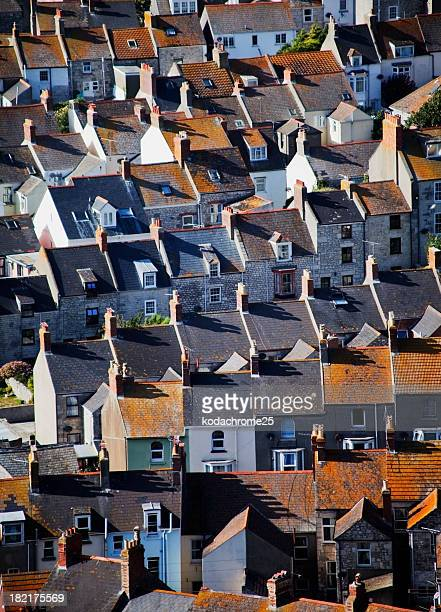 Multiple houses roofs top view