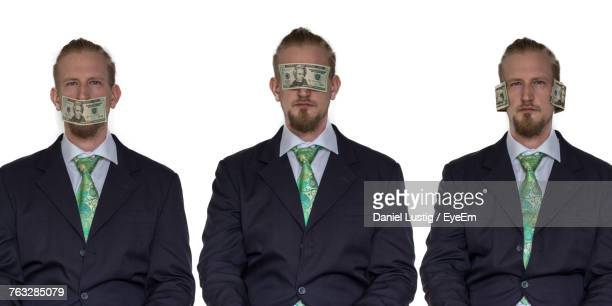 Multiple Image Of Businessman With Paper Currencies Over White Background