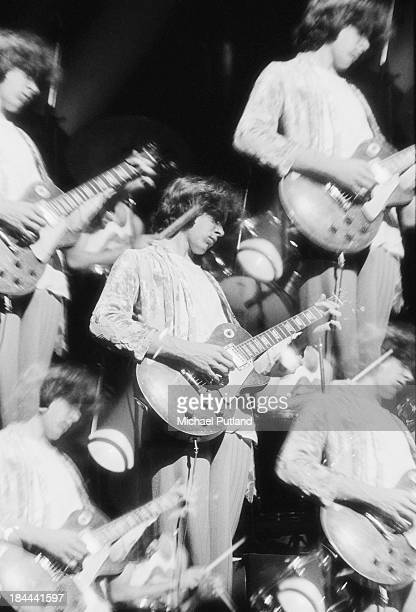 A multiple image of guitarist Mick Taylor performing with the Rolling Stones at the Olympiahalle Munich Germany 28th September 1973