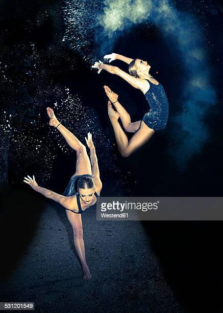 Multiple image of posing ballerina
