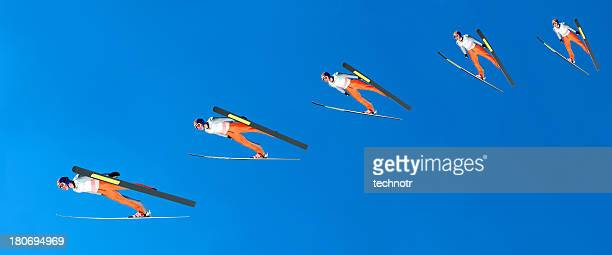 Multiple image of ski jumper