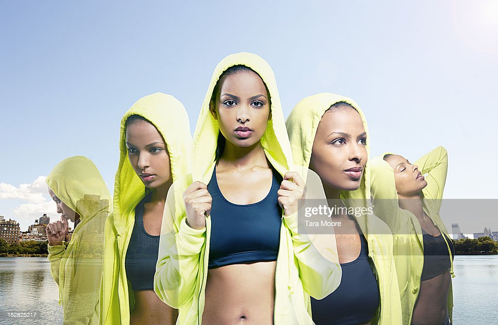 multiple image of sports woman in city : Stock Photo