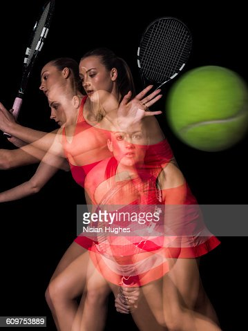 Multiple image of woman playing tennis, forhand