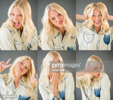 Multiple image of young woman, Jersey City, New Jersey, USA