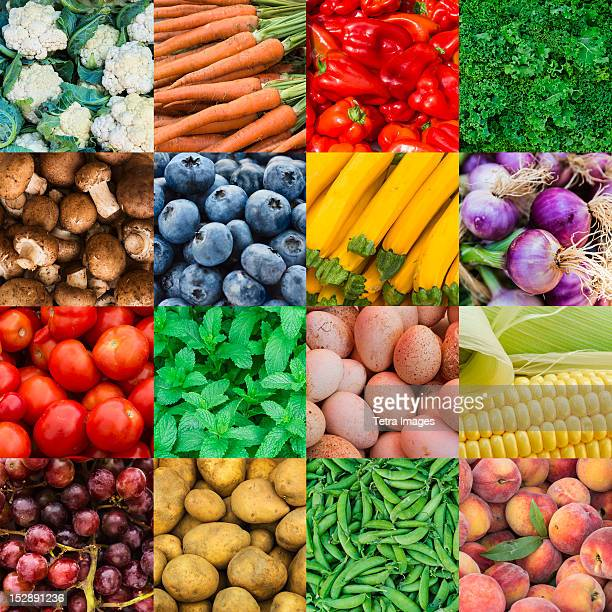 Multiple image showing variety of edible goods