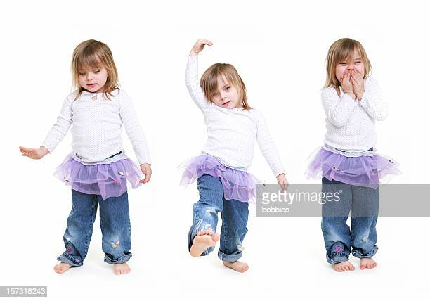 Multiple images of a little girl dressed in a tutu