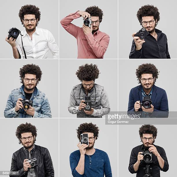 Multiple images of a male photographer