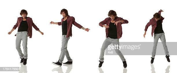 Plusieurs images d'un homme danse
