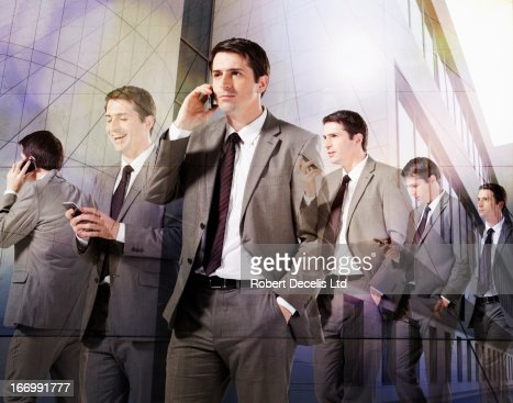Multiple images of business man