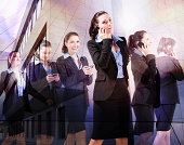 Multiple images of business woman