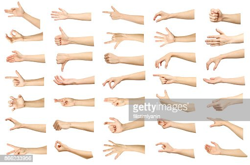 Multiple images set of female caucasian hand gestures isolated over white background. Part of series : Stock Photo