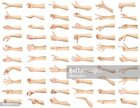 Multiple images set of female caucasian hand gestures isolated over white background : Foto de stock