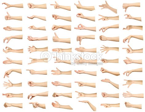 Multiple images set of female caucasian hand gestures isolated over white background : Stock Photo