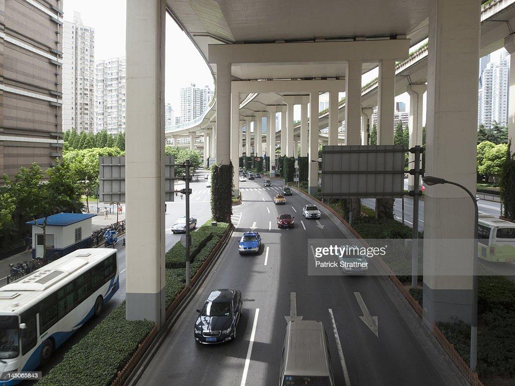 Multiple lane one way street in Shanghai, China