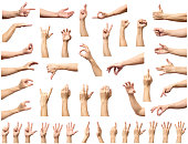 Multiple male caucasian hand gestures isolated over the white background, set of multiple images