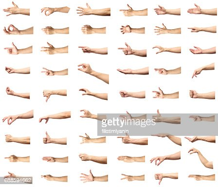 Multiple male caucasian hand gestures isolated over the white background, set of multiple images : Stock Photo
